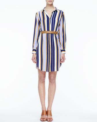Striped Belted Fuji Silk Shirtdress