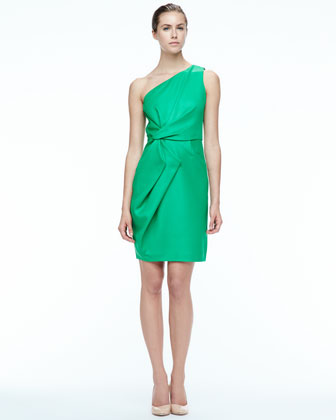 Folded-Side Satin Dress
