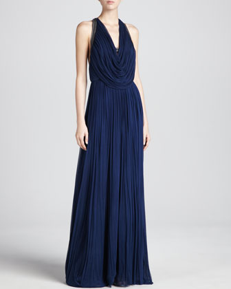 Oran Pleated Halter Gown