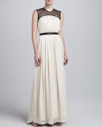 Othena Lace-Yoke Long Gown