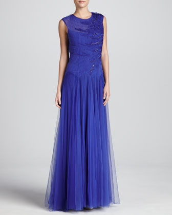 Ophira Sleeveless Tulle Gown