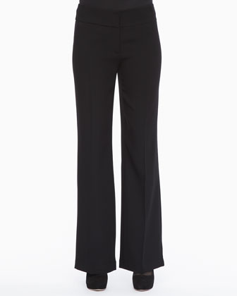 V-Neck Henley Top & Tropical Suiting Wide-Leg Trousers