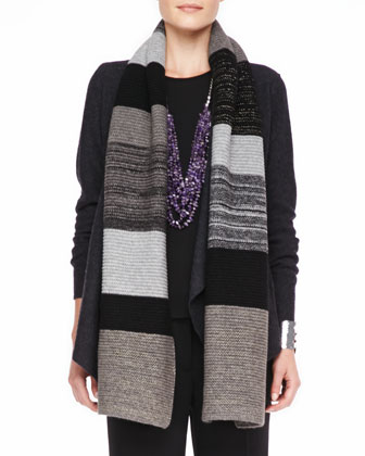 Colorblocked Shine Knit Scarf