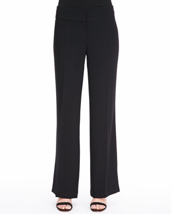 Tropical Suiting Wide-Leg Trousers, Petite
