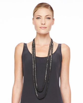 Plaited Mohair-Blend Jewel-Neck Tunic, Beaded Crochet Necklace, Silk Tank ...