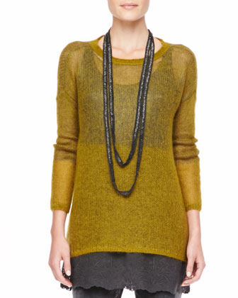 Plaited Mohair-Blend Jewel-Neck Tunic