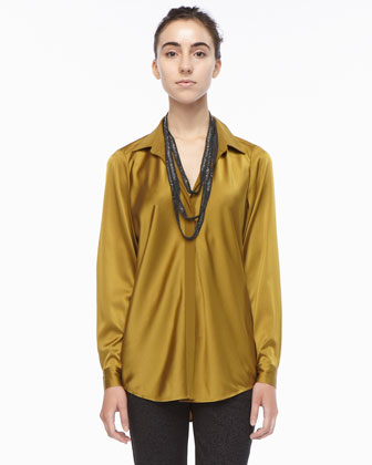 Silk Long-Sleeve Shirt, Petite