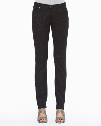 Patterned Stretch Skinny Jeans, Petite