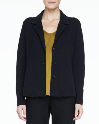 Silk-Cotton Interlock Notch-Collar Jacket