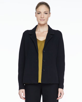 Silk-Cotton Interlock Notch-Collar Jacket, Petite