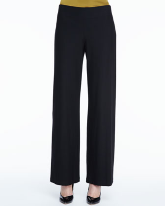 Stretch Crepe Modern Wide-Leg Pants, Petite