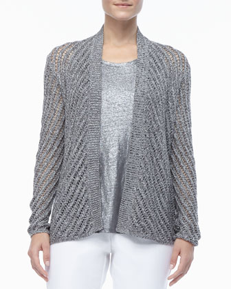 Cotton Twist Open-Weave Cardigan, Petite