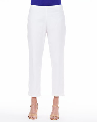 Organic Twill Slim Ankle Pants, Petite