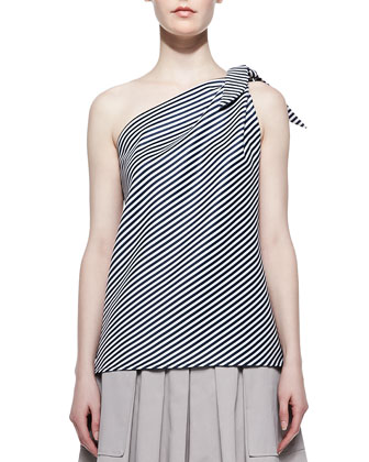 Mini Stripe-Print One-Shoulder Top, Navy Chalk