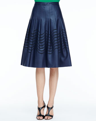 Cutout Faux-Leather Skirt