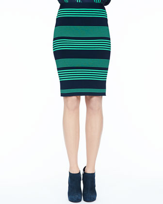 Striped Formfitting Pencil Skirt