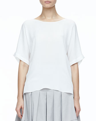 Short-Sleeve Silk Boxy Top & Large-Pocket Pleated Twill Skirt