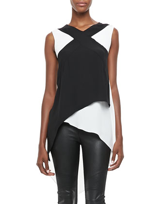 Veronika Two-Tone Layered Top & Faux-Leather/Ponte Leggings
