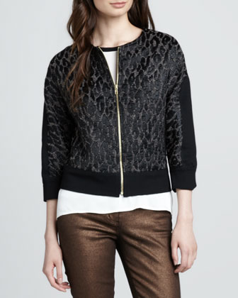 Aileen Leopard-Jacquard Jacket