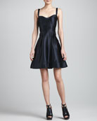 Satin Fit & Flare Dress, Black