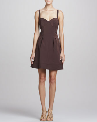 Sleeveless Fit-&-Flare Dress, Brown