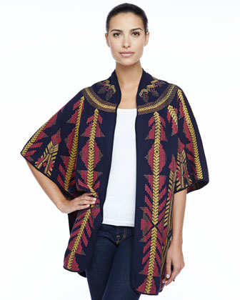 Juno Embroidered Blanket Poncho, Women's