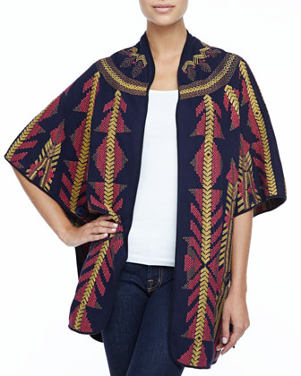 Juno Embroidered Blanket Poncho