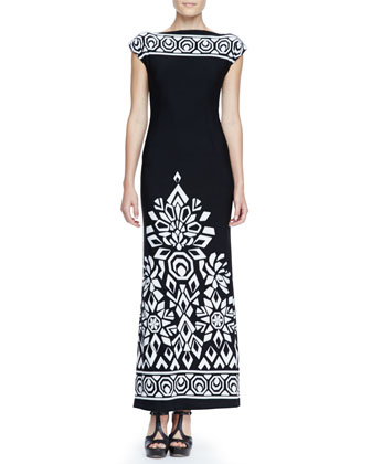 Long Trellis-Border Dress