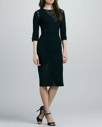 Salvatore Lace-Inset Sheath Dress