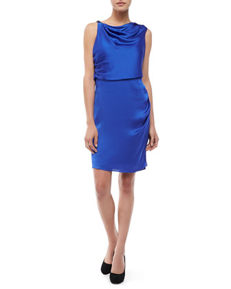 Draped-Neck Cocktail Dress