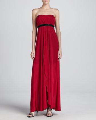 Strapless Sequin-Waist Jersey Gown