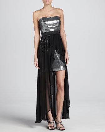 Chiffon-Skirt Sequined Cocktail Dress