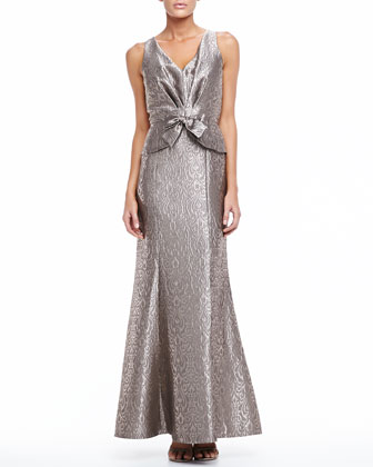 Sleeveless Long Jacquard Gown