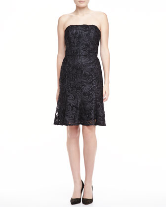 Strapless Lace Dress, Black