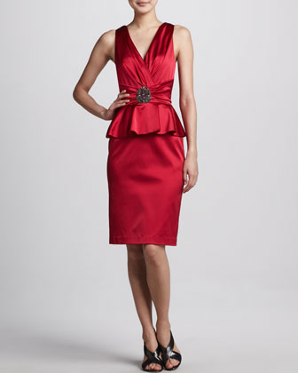 Satin Peplum Cocktail Dress