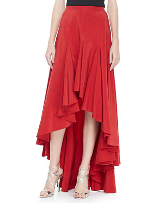 Arched-Hem Ruffled Skirt
