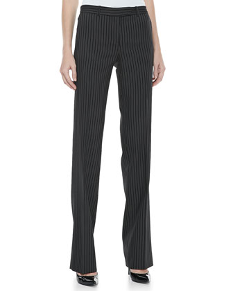 Pinstripe Straight-Leg Trousers