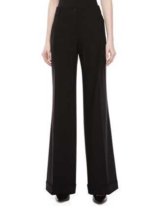 Wool Serge Wide-Leg Pants