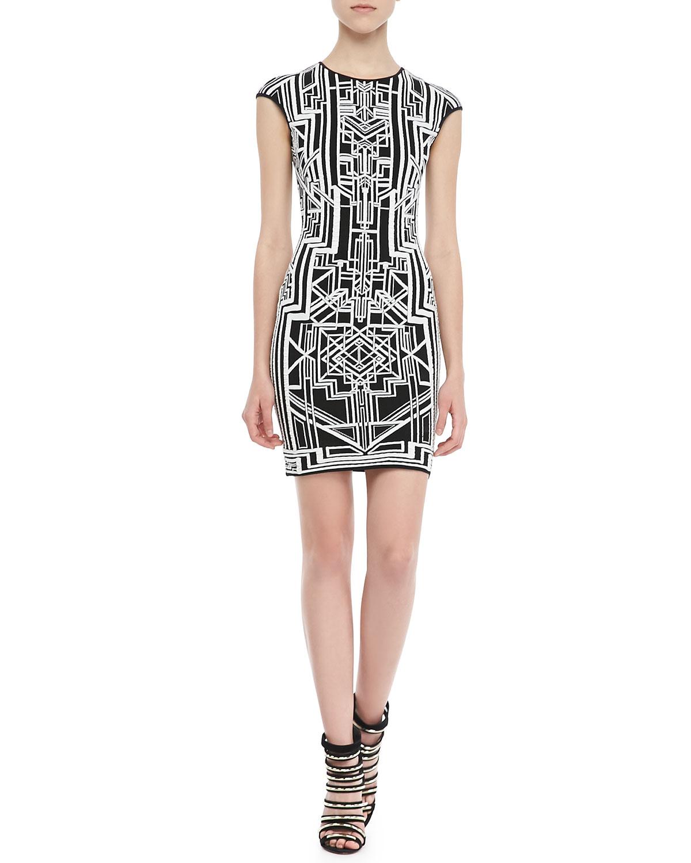 Womens Tron 3D Print Sheath Dress   RVN NYC   Blk/Wht (MEDIUM)