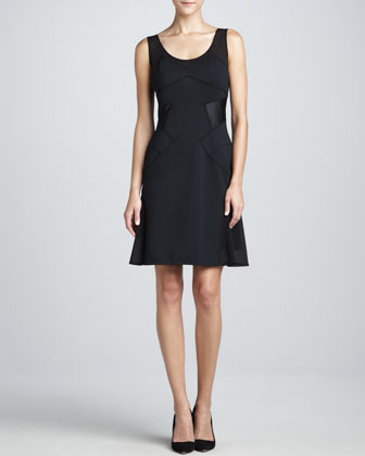 Sleeveless Flared Dress, Black
