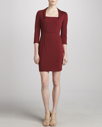 Long-Sleeve Square Dress, Bordeaux