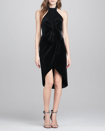 Admire Draped Velvet Cocktail Dress