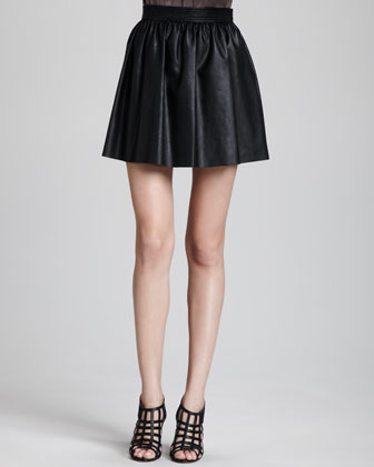 Lucy Pleated Faux-Leather Skirt
