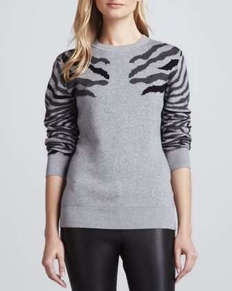 Shauna Zebra-Stripe Sweater