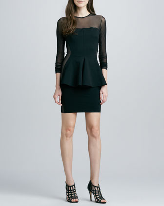 Lima Mesh-Top Peplum Dress