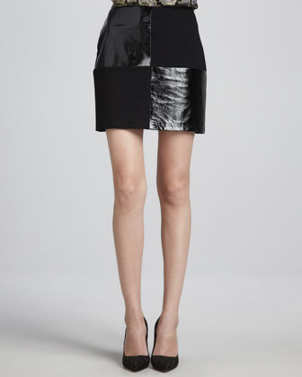 Dana Leather/Ponte Miniskirt