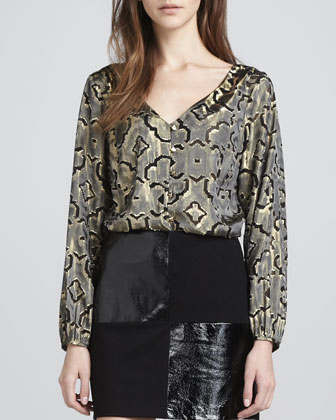Juliette Printed Long-Sleeve Top