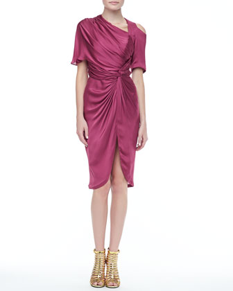 Monique Draped Silk Dress, Sangria