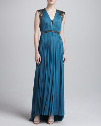 Mercia Pleated Metallic-Trim Gown
