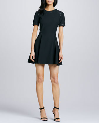 Rinah Leather-Trim Dress